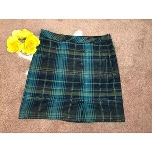 J.JILL Skirt Short Buttons  Zip Up Plaid Sz 16